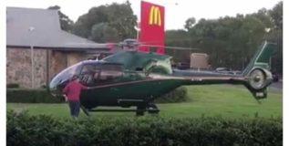 भुकेने कळवळला आणि मॅकडीसमोर उतरविले हेलिकॉप्टर