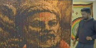 १४ हजार रुद्राक्षातून साकारली शिवाजी महाराजांची प्रतिमा